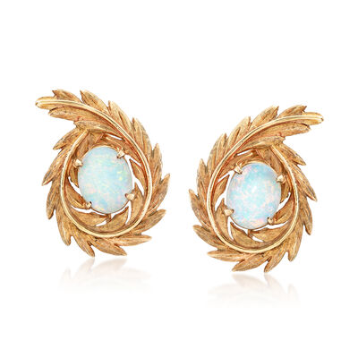C. 1960 Vintage 2.40 ct. t.w. Opal 14kt Yellow Gold Leaf Clip-On Earrings