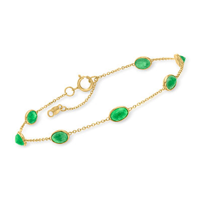 C. 1990 Vintage 3.15 ct. t.w. Emerald Station Bracelet in 18kt Yellow Gold