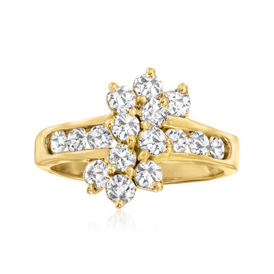 C. 1980 Vintage 1.60 ct. t.w. Diamond Cluster Ring in 14kt Yellow Gold