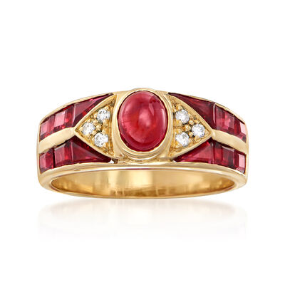 C. 1990 Vintage 1.75 ct. t.w. Ruby Ring with Diamond Accents in 18kt Yellow Gold