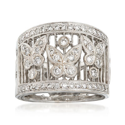 C. 1990 Vintage .75 ct. t.w. Diamond Butterfly Ring in 18kt White Gold, , default