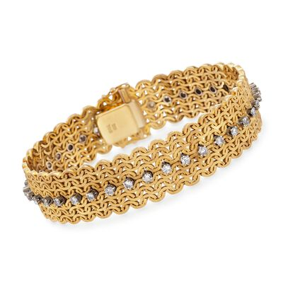 C. 1960 Vintage 1.80 ct. t.w. Diamond Wide Woven Bracelet in 18kt Yellow Gold, , default