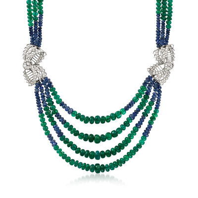 C. 1980 Vintage 84.00 ct. t.w. Emerald and 14.00 ct. t.w. Sapphire Beaded Necklace with 1.70 ct. t.w. Diamonds and .40 Carat Sapphire in 14kt and 18kt Two-Tone Gold