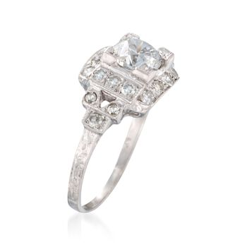 C. 1950 Vintage 1.46 ct. t.w. Certified Diamond Ring in Platinum. Size 6.75
