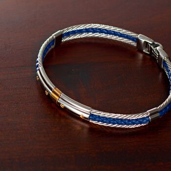 "ALOR Men's Stainless Steel Cable and Blue Leather Bracelet with 18kt Gold. 8"", , default"