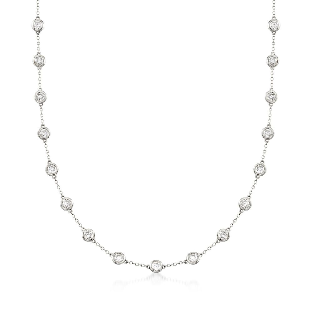a7448827e3599 5.00 ct. t.w. Bezel-Set Diamond Station Necklace in 14kt White Gold ...