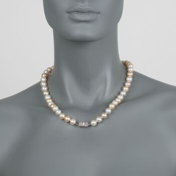 "C. 2000 Vintage 9-11mm Champagne Cultured Pearl Necklace with Diamond Accents in 18kt White Gold. 18.5"", , default"