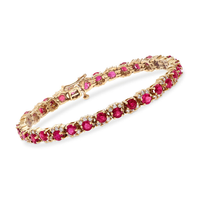"""C. 1990 Vintage 8.00 ct. t.w. Ruby and 1.75 ct. t.w. Diamond Tennis Bracelet in 14kt Yellow Gold. 7"""", , default"""