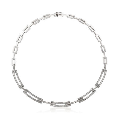 C. 1990 Vintage 3.45 ct. t.w. Diamond Link Necklace in 14kt White Gold