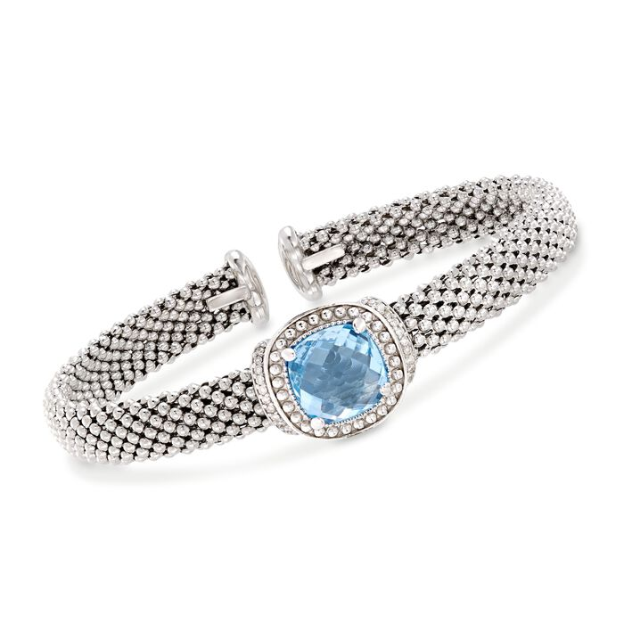 "Phillip Gavriel ""Popcorn"" 5.00 Carat Blue Topaz and .11 ct. t.w. Diamond Cuff Bracelet in Sterling Silver. 7"""