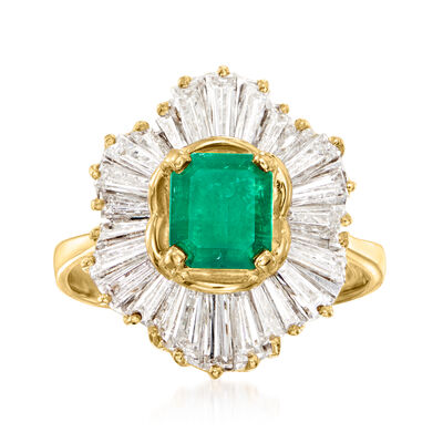 C. 1980 Vintage 1.69 ct. t.w. Diamond and 1.00 Carat Emerald Ring in 18kt Yellow Gold