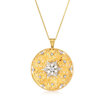C. 1970 Vintage .90 ct. t.w. Diamond Floral Circle Pendant Necklace in 18kt Yellow Gold