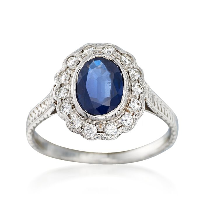C. 2000 Vintage 1.00 Carat Sapphire and .22 ct. t.w. Diamond Ring in 14kt White Gold. Size 5.75