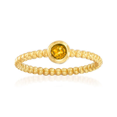 "Phillip Gavriel ""Popcorn"" .20 Carat Citrine Beaded Ring in 14kt Yellow Gold"
