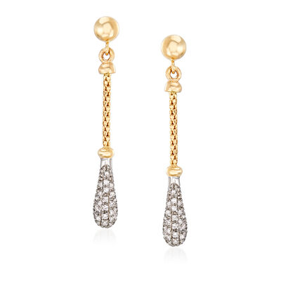 "Phillip Gavriel ""Popcorn"" .26 ct. t.w. Diamond Drop Earrings in 14kt Two-Tone Gold"