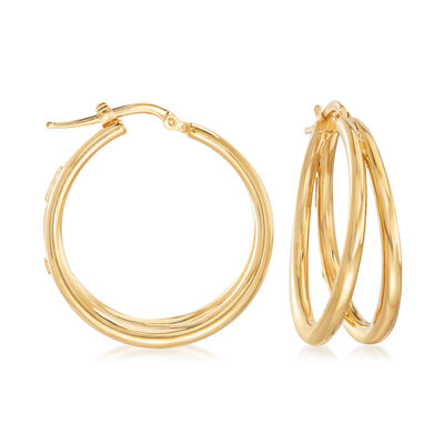 Roberto Coin 18kt Yellow Gold Thin Double-Hoop Earrings