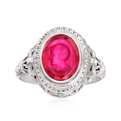 C. 1950 Vintage Synthetic Ruby Intaglio Ring in 14kt White Gold
