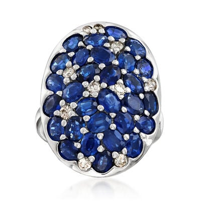 C. 1990 Vintage 6.75 ct. t.w. Oval Sapphire and .35 ct. t.w. Diamond Cluster Ring in 18kt White Gold