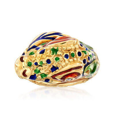 C. 1980 Vintage 18kt Yellow Gold Crocodile Ring with Multicolored Enamel and Diamond Accents