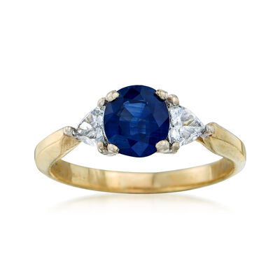 C. 1990 Vintage 1.51 ct. t.w. Sapphire and .60 ct. t.w. Diamond Ring in 18kt Yellow Gold, , default