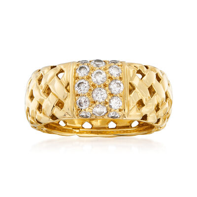 C. 1995 Vintage Tiffany Jewelry .60 ct. t.w. Diamond Basketweave Ring in 18kt Yellow Gold