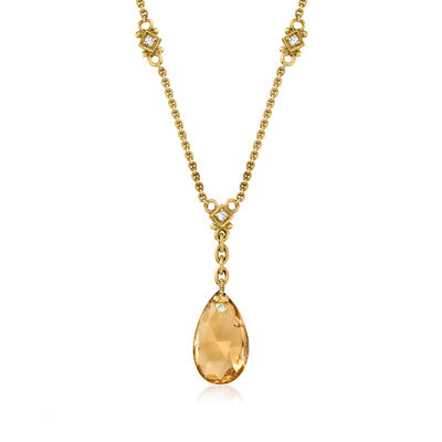 C. 1990 Vintage Judith Ripka 7.85 Carat Smoky Quartz and .25 ct. t.w. Diamond Necklace in 18kt Yellow Gold