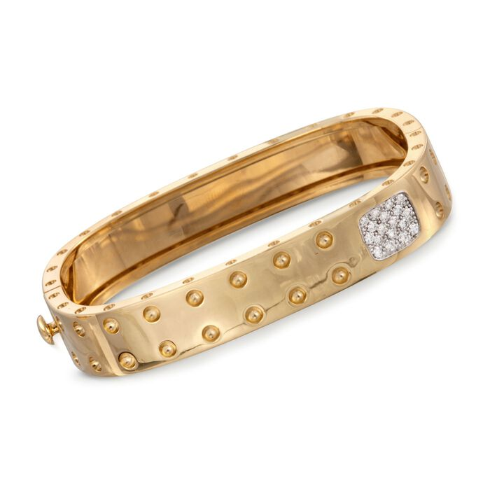 "Roberto Coin Pois Moi .28 ct. t.w. Diamond Bangle in 18-Karat Yellow Gold. 7"", , default"