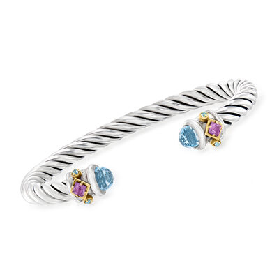 "Phillip Gavriel ""Italian Cable"" 3.16 ct. t.w. Sky Blue Topaz and .50 ct. t.w. Amethyst Cuff Bracelet in Sterling Silver with 18kt Yellow Gold"