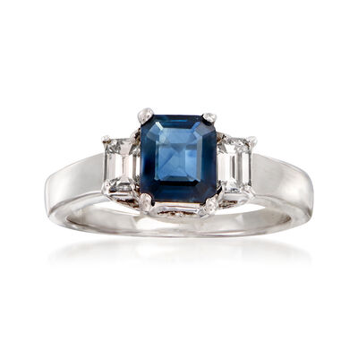 C. 1990 Vintage 1.15 Carat Sapphire and .50 ct. t.w. Diamond Ring in 18kt White Gold