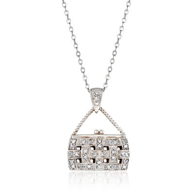 C. 2000 Vintage .33 ct. t.w. Diamond Purse Pendant Necklace in 14kt White Gold, , default