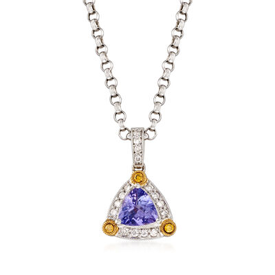 C. 2000 Vintage 1.00 Carat Tanzanite and .30 ct. t.w. Diamond Pendant Necklace  in 14kt White Gold, , default