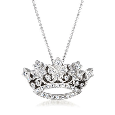 C. 1980 Vintage 1.10 ct. t.w. Diamond Crown Pendant Necklace in 14kt White Gold