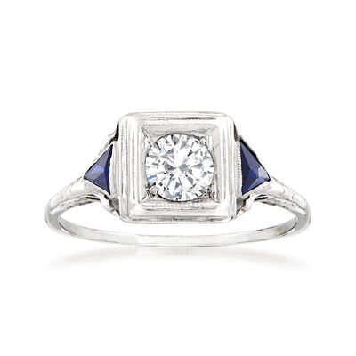 C. 1920 Vintage .50 Carat Diamond Ring with .35 ct. t.w. Synthetic Sapphires in 14kt White Gold