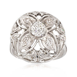 C. 1950 Vintage 1.05 ct. t.w. Diamond Dome Ring in 14kt White Gold, , default