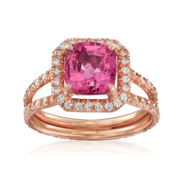 C. 1990 Vintage 2.59 Carat Pink Sapphire and 1.20 ct. t.w. Diamond Ring in 18kt Rose Gold