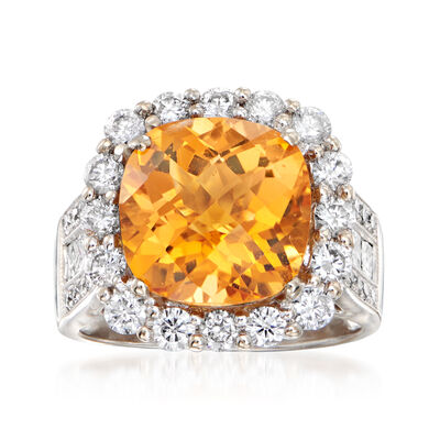 C. 1990 Vintage 4.75 Carat Citrine and 1.55 ct. t.w. Diamond Ring in 18kt White Gold