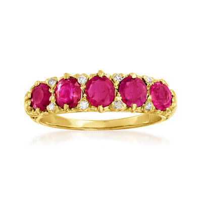 C. 1960 Vintage 1.50 ct. t.w. Ruby Five-Stone Ring with Diamond Accents in 18kt Yellow Gold