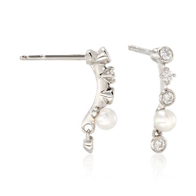 Mikimoto 3mm A+ Akoya Pearl and .20 ct. t.w. Diamond Drop Earrings in 18kt White Gold