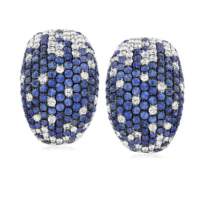 C. 1980 Vintage 5.00 ct. t.w. Sapphire and 3.30 ct. t.w. Diamond Earrings in 18kt White Gold