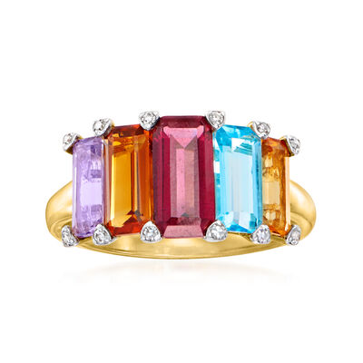 C. 1980 Vintage 3.90 ct. t.w. Multi-Gemstone Ring with .12 ct. t.w. Diamonds in 14kt Yellow Gold