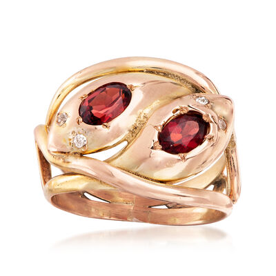 C. 1940 Vintage 1.20 ct. t.w. Garnet Double Snake Head Ring with Diamond Accents in 9kt Yellow and Rose Gold, , default