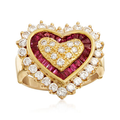 C. 1980 Vintage .75 ct. t.w. Diamond and .50 ct. t.w. Ruby Heart-Shaped Ring in 18kt Yellow Gold, , default