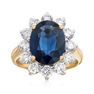 C. 1980 Vintage 4.20 Carat Sapphire and 1.50 ct. t.w. Diamond Ring in 18kt Yellow Gold