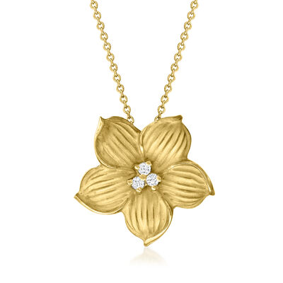 C. 1990 Vintage 18kt Yellow Gold Flower Pendant Necklace with Diamond Accents