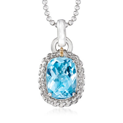 "Phillip Gavriel ""Popcorn"" 6.00 Carat Blue Topaz Pendant Necklace in Sterling Silver with 18kt Yellow Gold, , default"