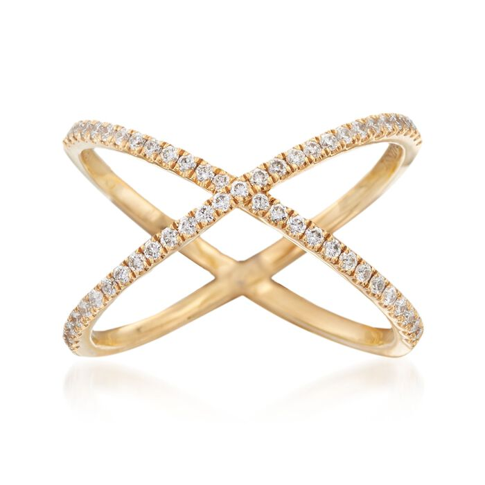 Henri Daussi .28 ct. t.w. Diamond Crisscross Ring in 14kt Yellow Gold, , default