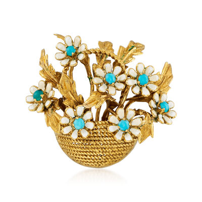 C. 1960 Vintage Turquoise and White Enamel Floral Basket Pin in 18kt Yellow Gold, , default