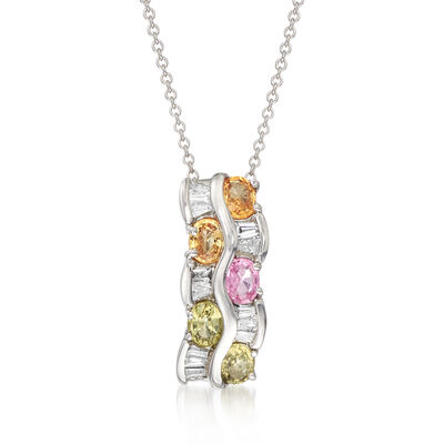 C. 1990 Vintage 1.00 ct. t.w. Multicolored Sapphire and .25 ct. t.w. Diamond Wave Pendant Necklace in 14kt White Gold