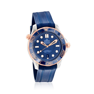 Omega Seamaster Diver Men's 42mm Automatic Stainless Steel and 18kt Rose Gold Watch with Blue Dial and Rubber Strap