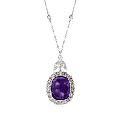 C. 1990 Vintage 45.00 Carat Amethyst and 2.50 ct. t.w. Diamond Necklace in 18kt White Gold